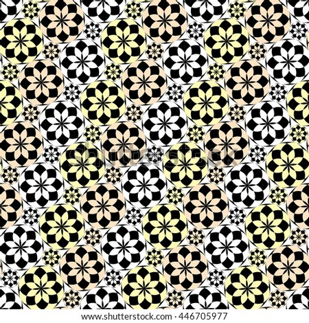 Seamless pattern with black and yellow tiles - stock vector