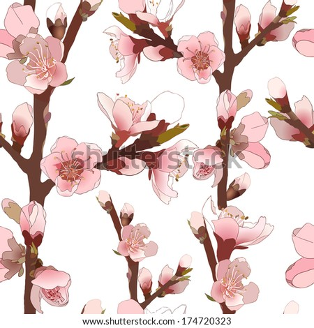 Seamless pattern with blossoming almond branch with pink flowers. Realistic vector illustration - stock vector