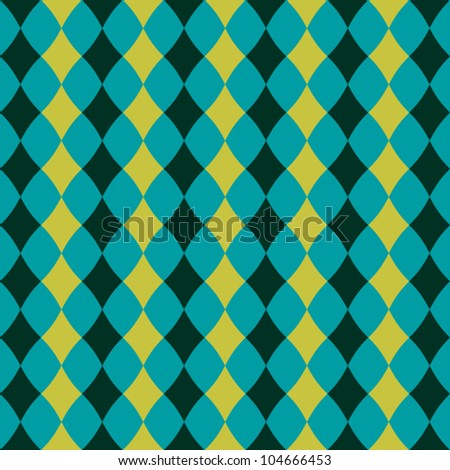Seamless pattern with blue and green rhombuses - stock vector