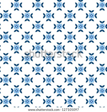 seamless pattern with blue flowers,abstract  background;pattern can be used for wallpaper, pattern fills, web page background, surface textures. - stock vector