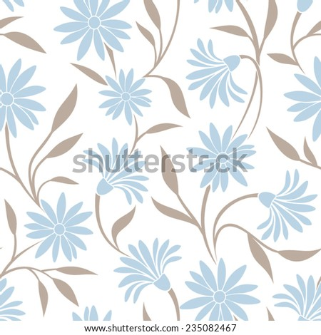Seamless pattern with blue flowers and beige leaves. Vector illustration. - stock vector