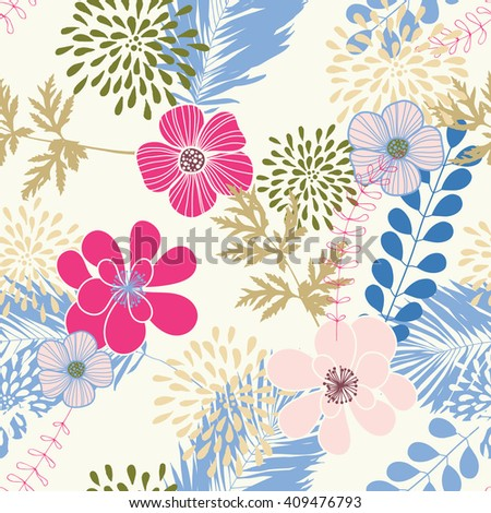 Seamless pattern with blue leaves and pink flowers - stock vector