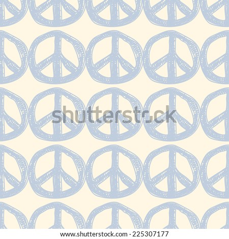 Seamless pattern with blue peace signs. Seamless hippie background. - stock vector