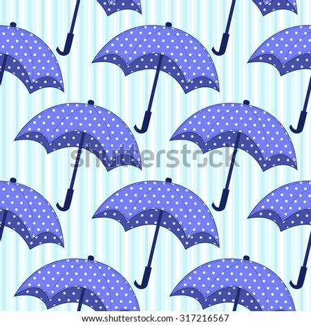 seamless pattern with blue umbrellas on striped background - stock vector