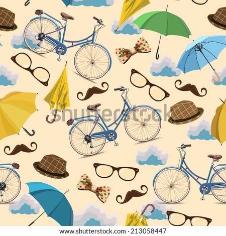 Seamless pattern with blue vintage bicycles, glasses, umbrellas, clouds, bows, hats, mustache on beige background. - stock vector