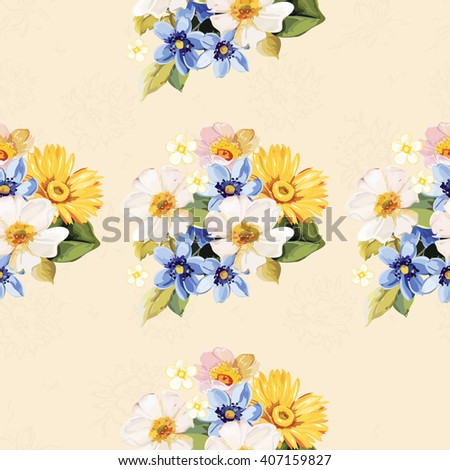 Seamless pattern with blue white yellow flowers - stock vector