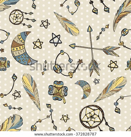 Seamless pattern with boho elements - dream catcher, moon, arrows and beads on polka dot background. Hand drawn vector illustration - stock vector