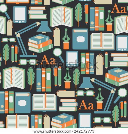 seamless pattern with books icons - stock vector