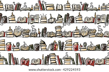 Seamless pattern with books on bookshelves, sketch design - stock vector