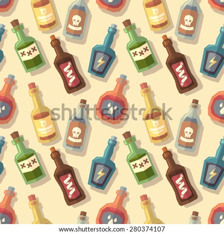 Seamless pattern with bottles. Vector illustration. - stock vector