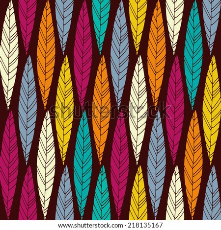 Seamless pattern with bright autumn leaves. Good idea for textile, wrapping, wallpaper or cloth design. Autumn leaf background. Vintage illustration. - stock vector