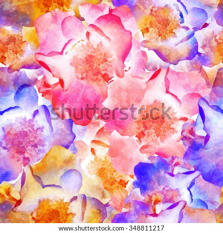 Seamless pattern with bright flowers wild rose. Vector, EPS10. - stock vector