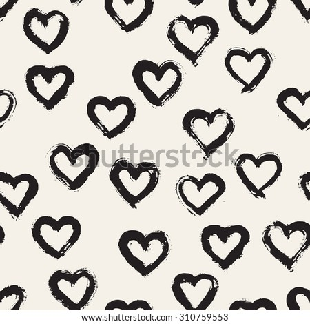 Seamless pattern with brush strokes. Casual polka dot texture. Stylish print with hand drawn hearts - stock vector