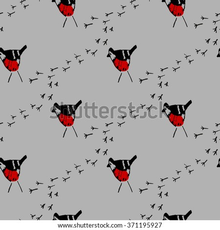 Seamless pattern with bullfinches. Hand drawn background. - stock vector