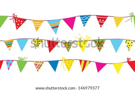 Seamless pattern with bunting flags for kids - stock vector