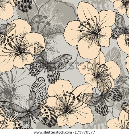 Seamless pattern with butterflies and flowering hibiscus. Vector illustration. - stock vector