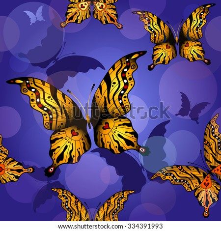 Seamless pattern with butterflies and translucent balls, vector eps 10 - stock vector