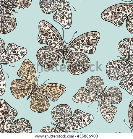 Seamless pattern with butterflies. Hand drawn vector zentangle butterfly illustration. Decorative abstract doodle design element. - stock vector