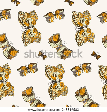 Seamless pattern with butterflies in doodle style. Vector illustration.  - stock vector