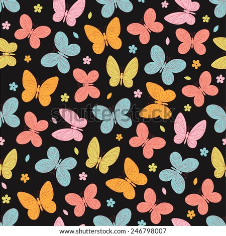 Seamless pattern with butterfly and flowers  on the black background. Vector illustration. - stock vector