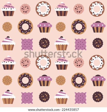 Seamless pattern with cakes, donuts and cookies. - stock vector