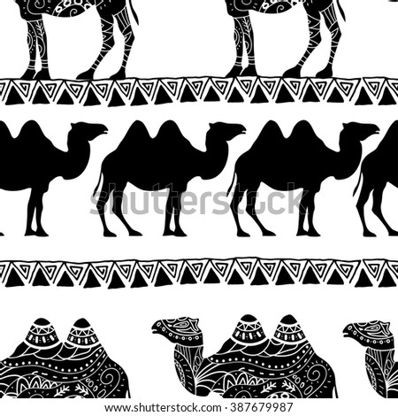Seamless pattern with camel silhouette decorated with oriental ornaments  - stock vector