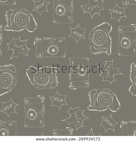 Seamless pattern with cameras. - stock vector