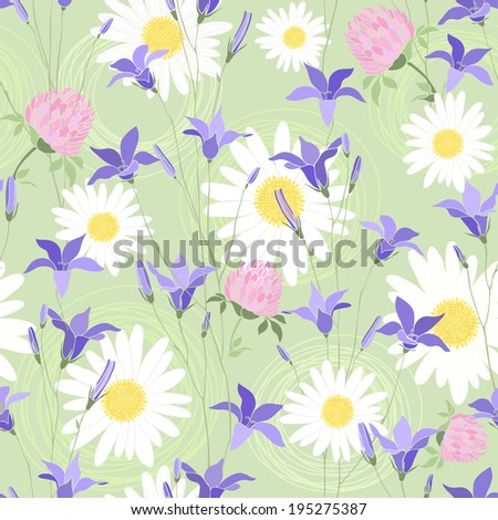 Seamless pattern with camomiles, clovers and bellflowers - stock vector