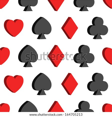 Seamless pattern with card suits, hearts, clubs, spades, diamonds - stock vector