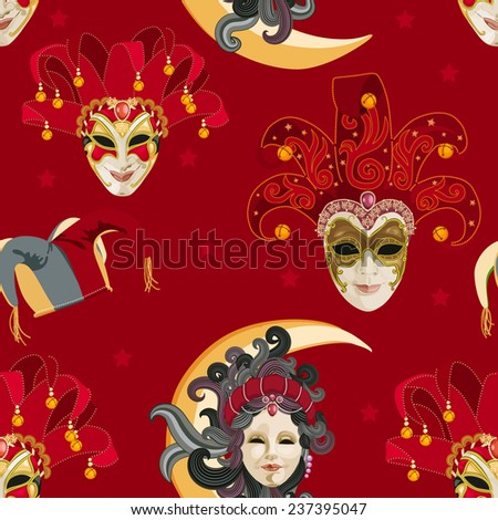 Seamless pattern with carnival venetian colorful mask on traditional red background - stock vector