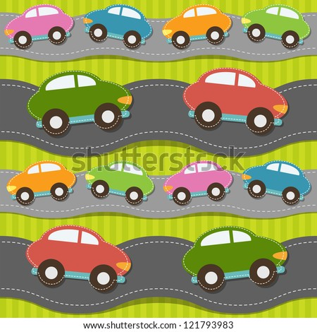 Seamless pattern with cars - stock vector