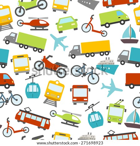 Seamless pattern with cars, buses, trams and others means of transport. Can be used as a wallpaper decoration or as a design for a printable card. - stock vector