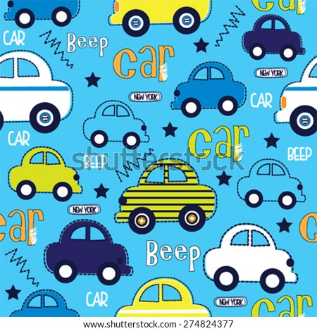 seamless pattern with cars vector illustration - stock vector