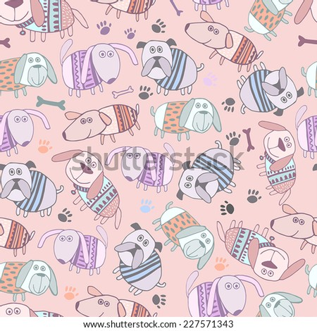 Seamless pattern with cartoon cute dogs on pink background in vector. - stock vector