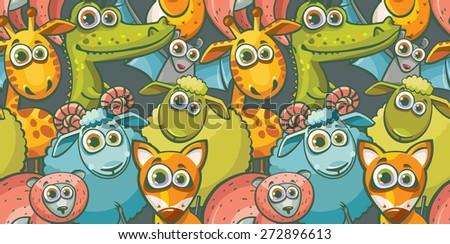 Seamless pattern with cartoon funny animal. Childish vector wallpaper. - stock vector