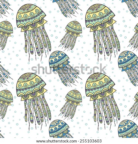 Seamless pattern with cartoon jellyfish. Illustration with hand-drawn sea jellyfish underwater. - stock vector