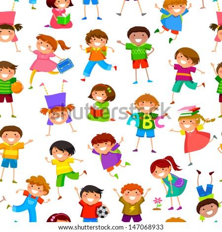 seamless pattern with cartoon kids - stock vector