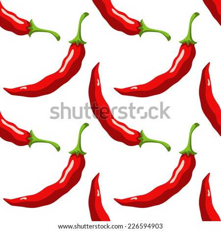 Seamless pattern with cartoon red hot chili peppers on a white background - stock vector