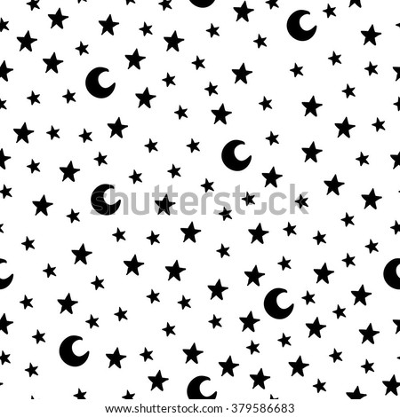Seamless pattern with cartoon stars and moon on white background. Can be used for wallpaper, pattern fills, greeting cards, webpage backgrounds, wrapping paper or fabric. Vector illustration. EPS 10. - stock vector