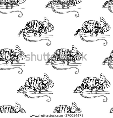 Seamless pattern with chameleon. Black and white vector illustration of reptile - stock vector