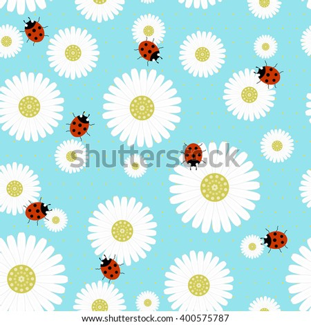 Seamless pattern with chamomiles on a blue background with ladybugs -vector illustration - stock vector