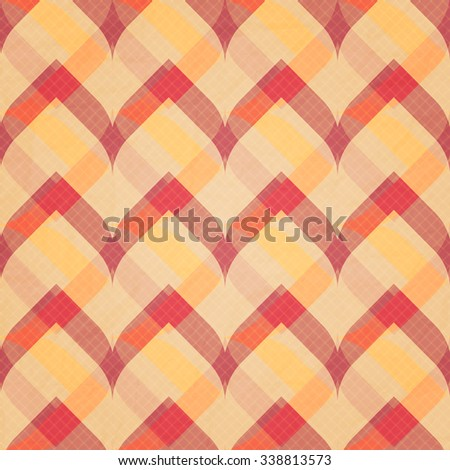 seamless pattern with checkered, plaid ornament over paper texture. vector retro background design - stock vector