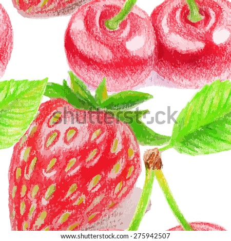 Seamless pattern with cherry and strawberry. Color pencils illustration.  - stock vector