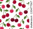 Seamless pattern with cherry. Vector illustration. - stock vector