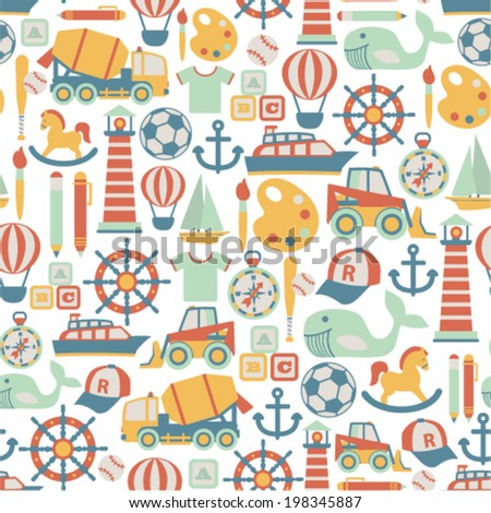 seamless pattern with child icons - stock vector
