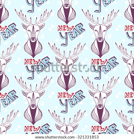 Seamless pattern with Christmas deer and new year lettering. Vector background - stock vector