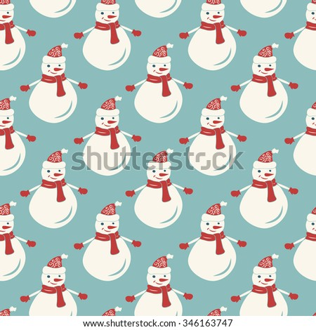 Seamless pattern with christmas hand-drawn decorative elements in vector. Fancy snowmen.  - stock vector