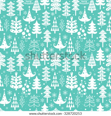 Seamless pattern with Christmas tree. Vector illustration - stock vector