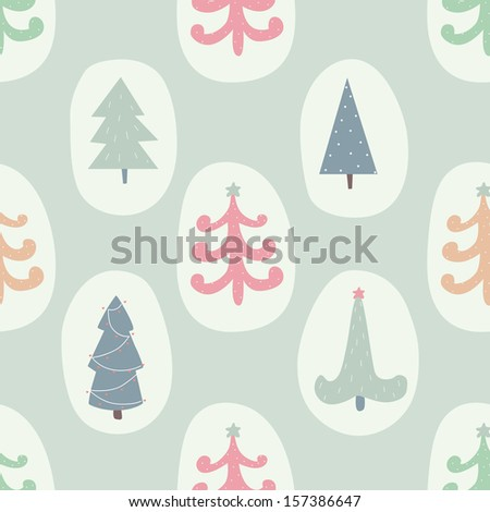Seamless pattern with Christmas trees. EPS 10. No transparency. No gradients. - stock vector