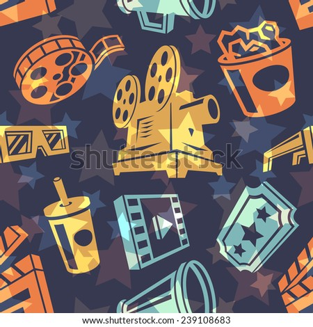 Seamless pattern with cinema icons. Vector illustration. - stock vector